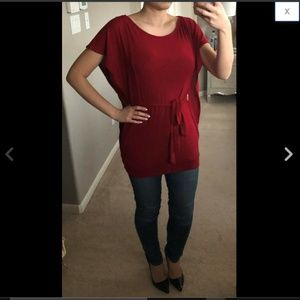 Red Ruffle Flutter Sleeve Belted Sweater Top M